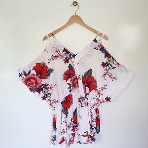SHEIN Curvy Floral Open Shoulder Blouse